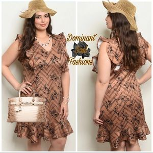 Dresses & Skirts - Plus Size Brown Mocha Black Puff sleeve Dress